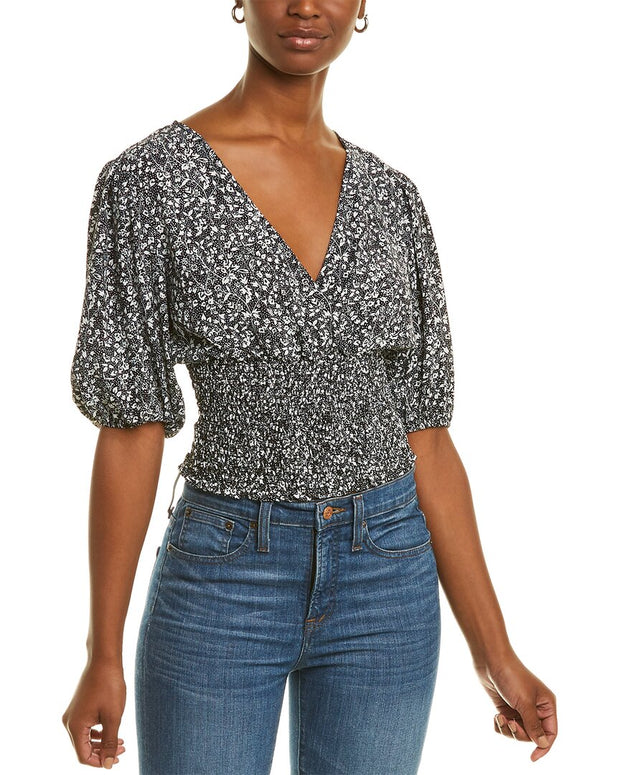 1.State Folk Silhouette Floral Top