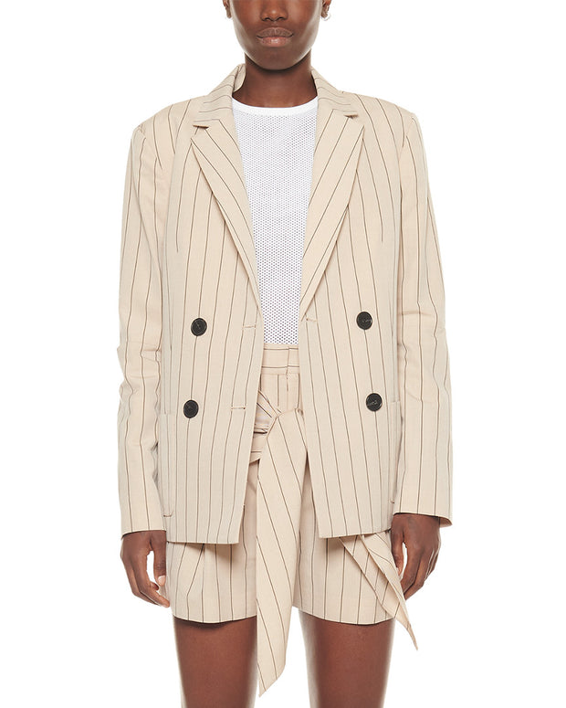 Tibi Tropical Stripe Suiting Wool Blazer