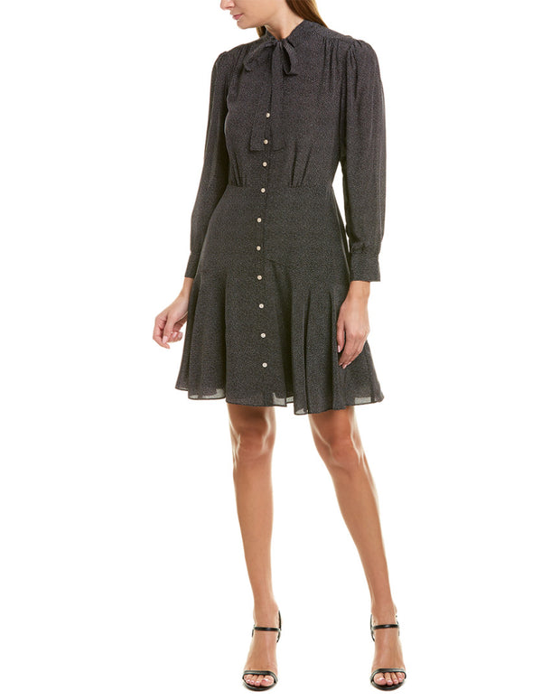 Rebecca Taylor Sprinkle Dot Silk Shirtdress