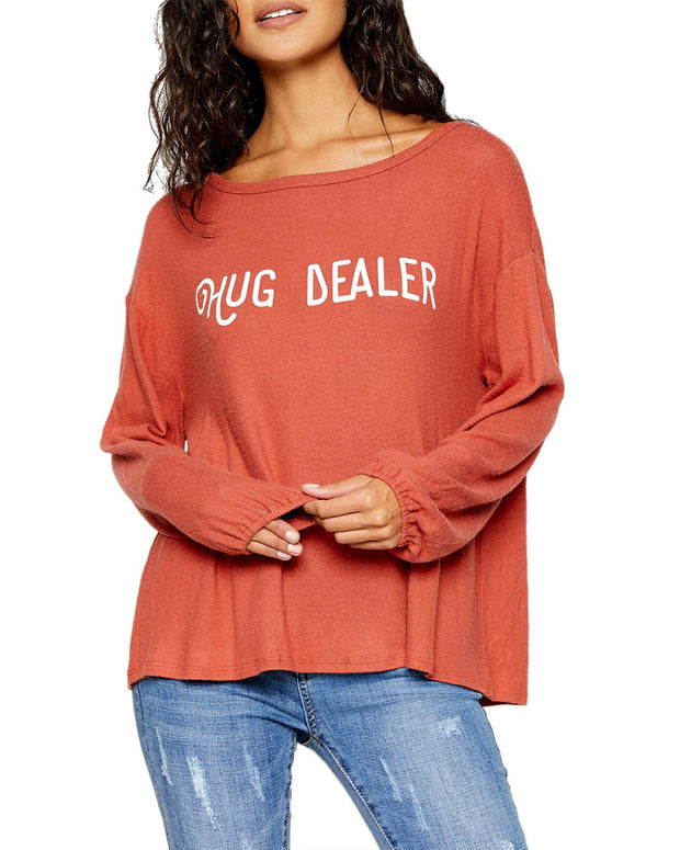 Sadie & Sage Boat Neck Hug Dealer Graphic Top