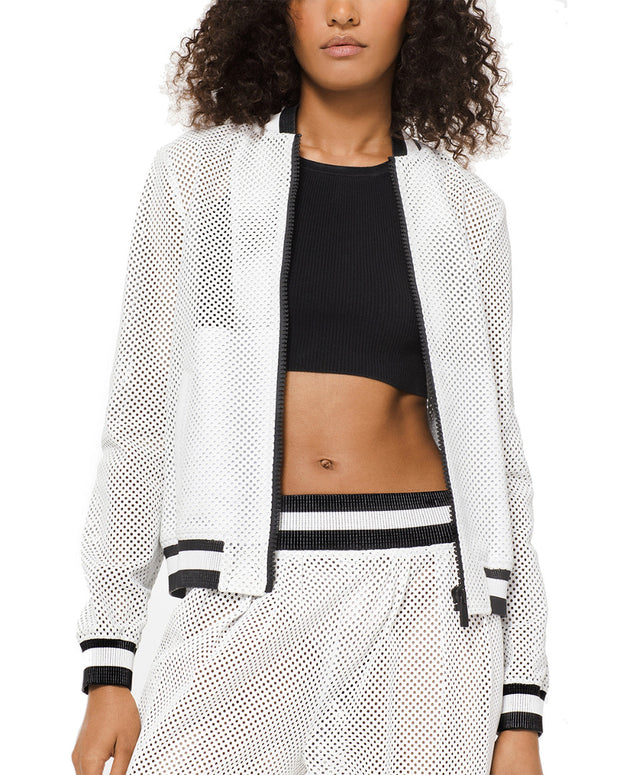 Michael Kors Collection Perforated Leather Bomber Jacket