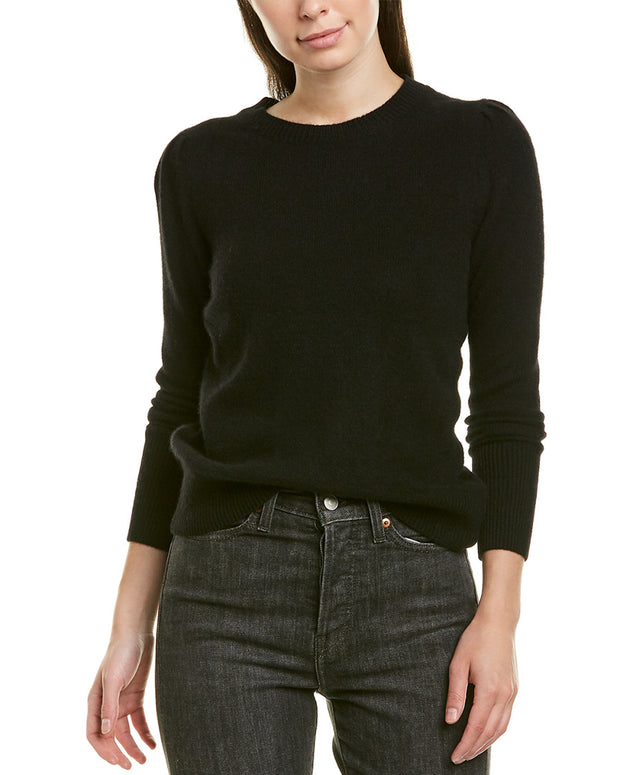 White + Warren Puff-Shoulder Sweater