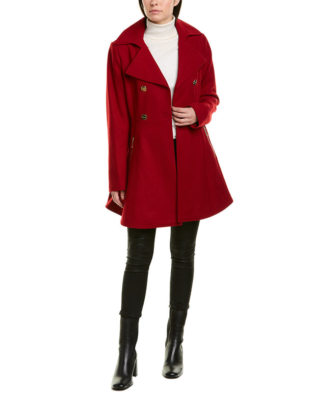 Laundry By Shelli Segal Melton Fit & Flare Wool-Blend Coat