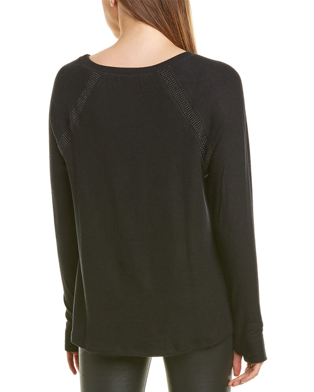 Michael Stars Scoop Neck Beaded Raglan Top