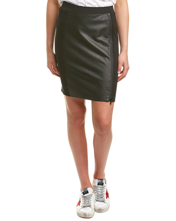 Michael Stars Leather Front Skirt