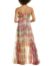 Forte Forte Tartan Silk Maxi Dress