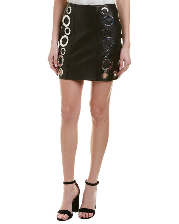 Kendall + Kylie Leather Grommet Mini Skirt