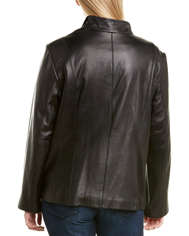 Cole Haan Plus Zip Front Leather Jacket