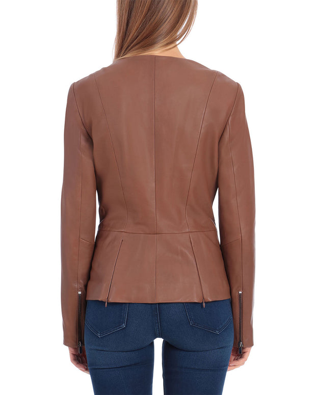 Badgley Mischka Genuine Leather Peplum Jacket