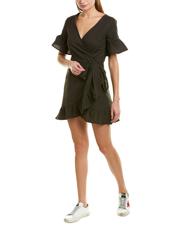 Charlie Holiday Vacay Linen-Blend Wrap Dress