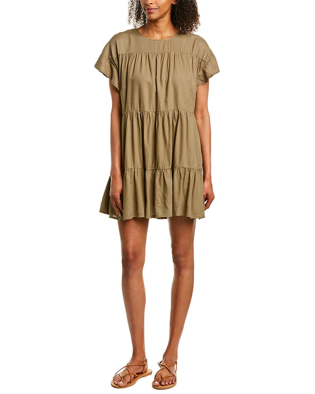Very J Ruffle Linen-Blend Shift Dress