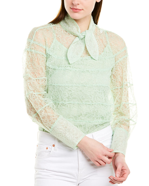 Sandro Lace Silk-Lined Top