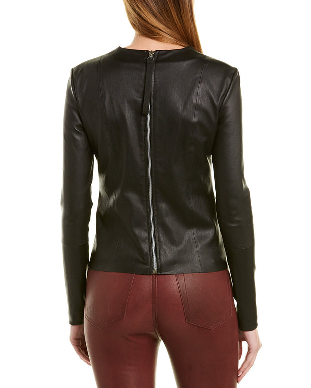 Helmut Lang Leather & Silk Top