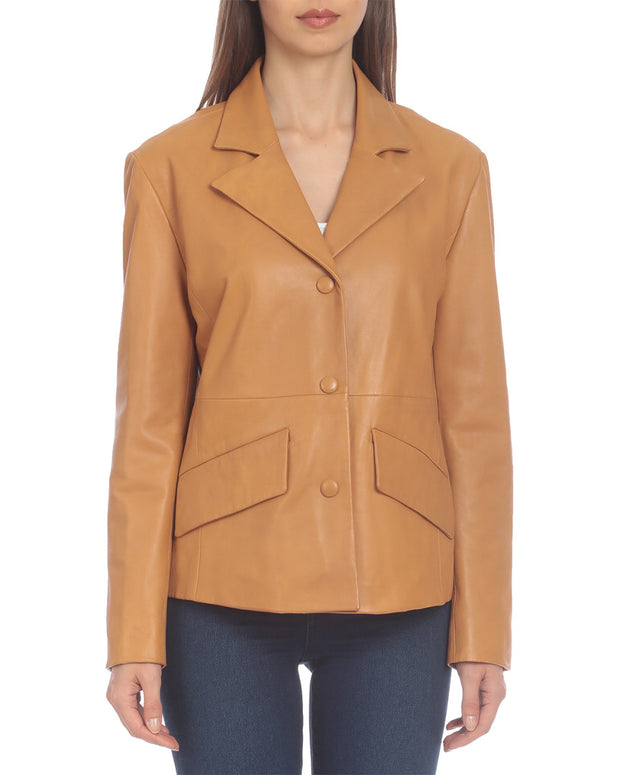 Badgley Mischka Single-Breasted Leather Blazer