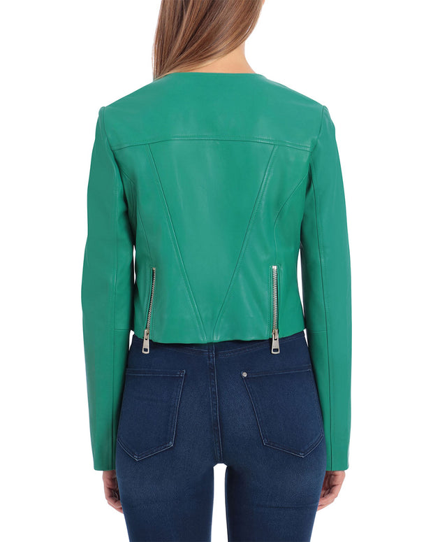 Bagatelle Cropped Leather Moto Jacket