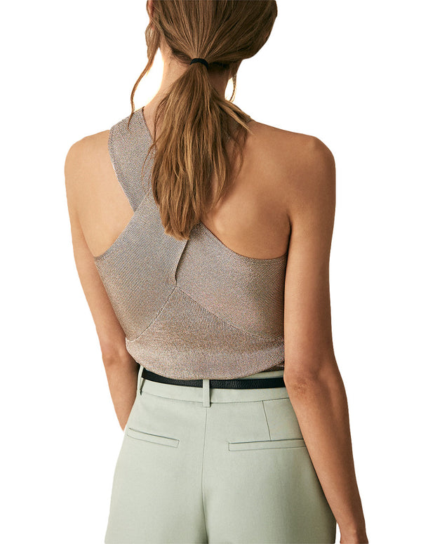 Reiss Imogen Metallic Halter Top
