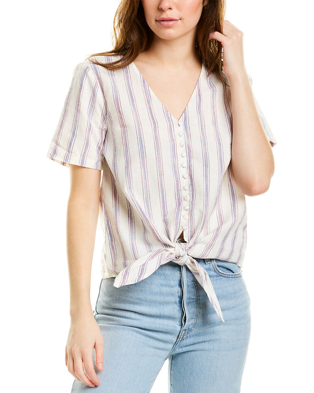 Madewell Novel Tie-Front Linen-Blend Top