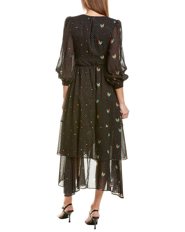 Farm Rio Mixed Roost Wrap Maxi Dress