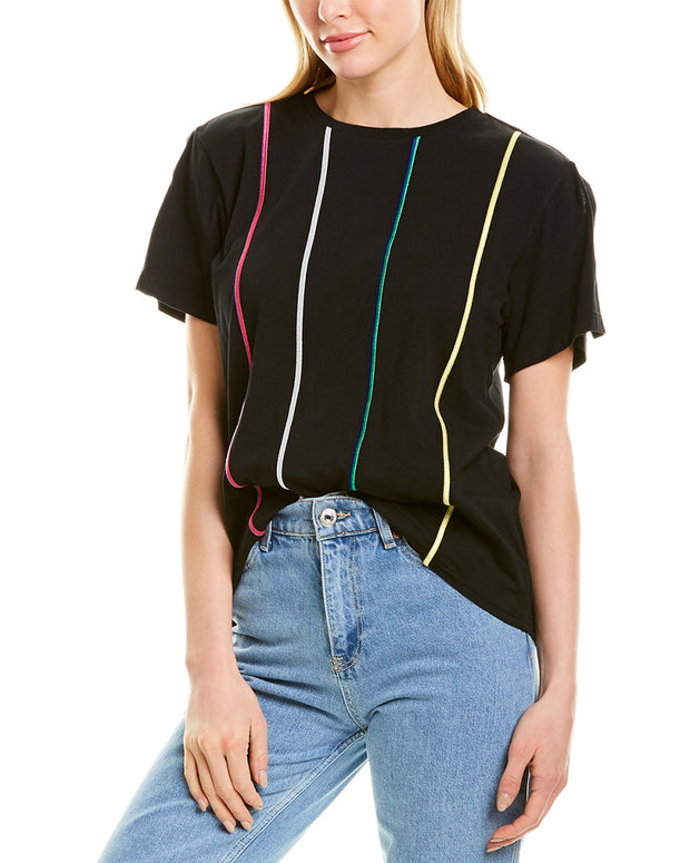 Derek Lam 10 Crosby Embroidered Stripe T-Shirt