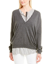 Brunello Cucinelli Silk-Trim Cashmere Sweater