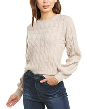 Kier + J Puff Sleeve Cashmere Sweater