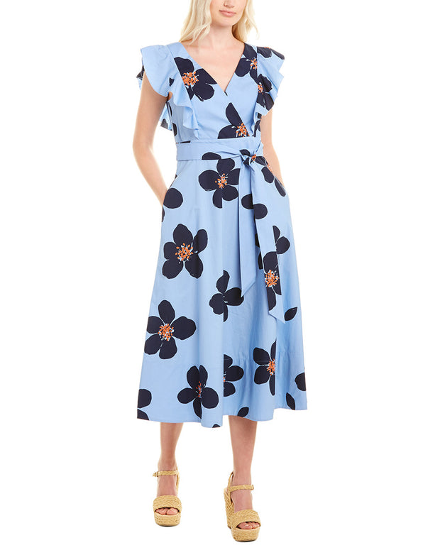 Kate Spade New York Mainline Grand Flora Poplin Midi Dress