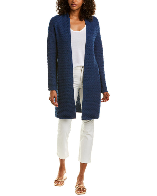 Sail To Sable Long Drape Front Wool Cardigan