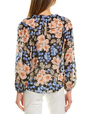 Rebecca Taylor Blush Rose Silk-Blend Top