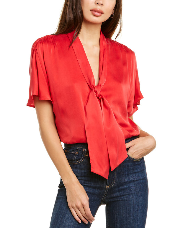 Alice + Olivia Livvy Silk-Blend Top