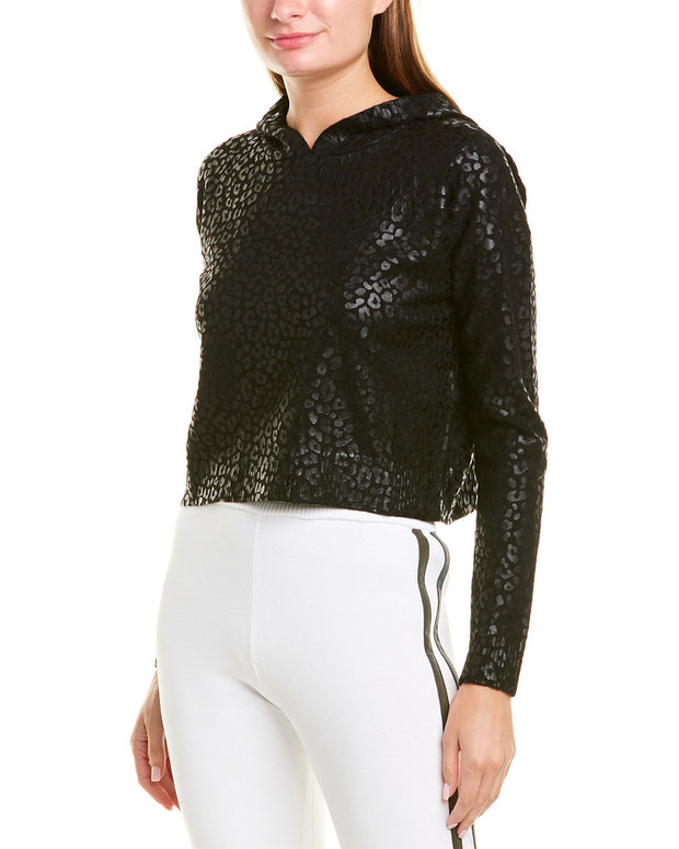 Threads Of Privilege Leopard Foil Cropped Cashmere Hoodie