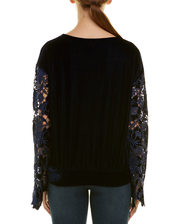 Stellah Velour Lace Top