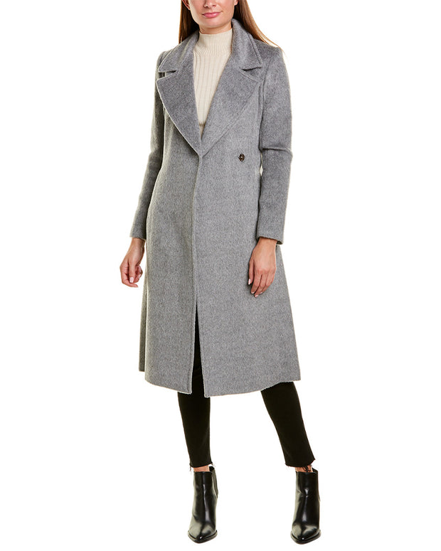 Cole Haan Tie-Waist Wool & Alpaca-Blend Wrap Coat