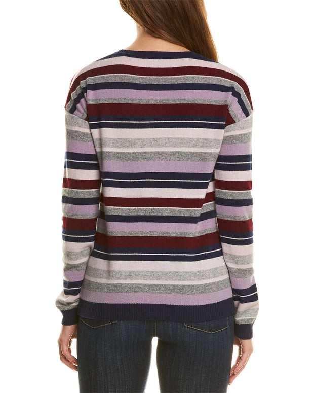 Amicale Cashmere Striped Cashmere Sweater