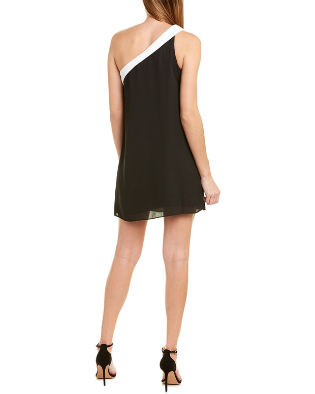 Krisa Blocked One-Shoulder Mini Dress