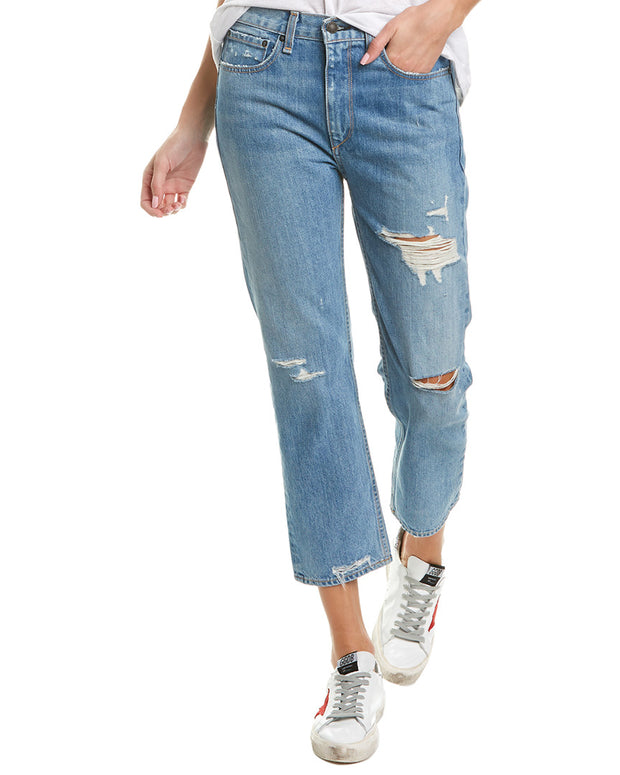 Rag & Bone High-Rise Distressed Blue Crop
