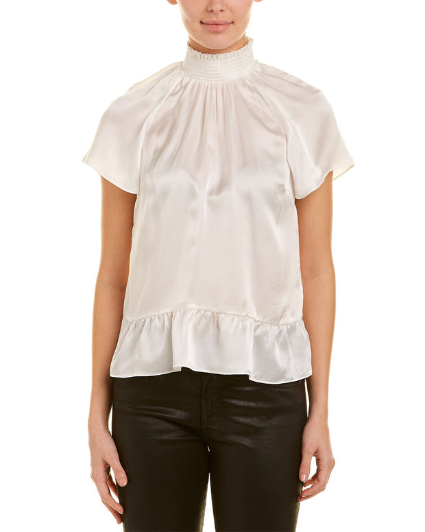 Rachel Zoe Smocked Silk Top