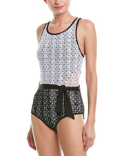 Anne Cole In First Lace Dot Crochet High Neck One Piece