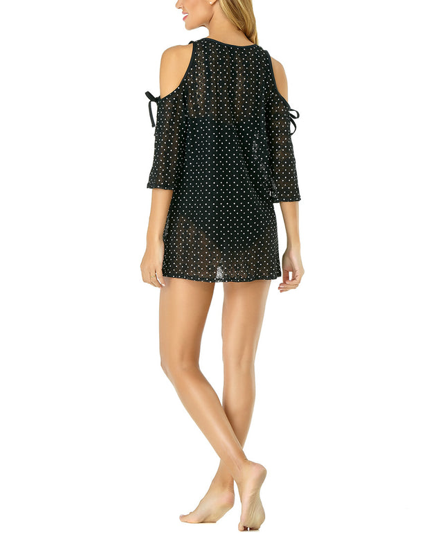 Anne Cole In First Lace Dot Crochet Cold Shoulder One Piece