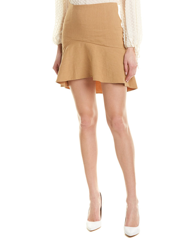 Alice + Olivia Steffe Linen-Blend Mini Skirt