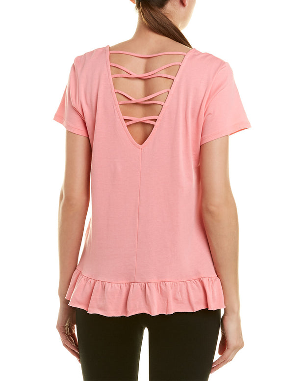 Betsey Johnson Strappy V-Back Ruffle Hem Top