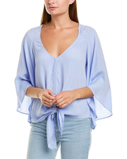 Lavender Brown Tie-Front Silk-Blend Blouse