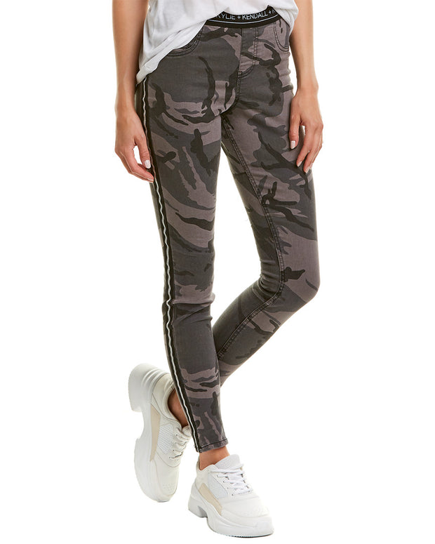 Kendall + Kylie Metallic Stripe Camo Denim Legging