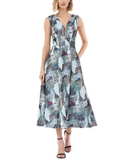Kay Unger Sleeveless Printed Midi Dress