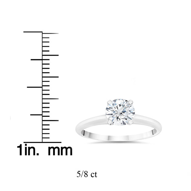 VS 5/8ct Lab Grown 100% Diamond Solitaire Engagement Ring 14k White Gold