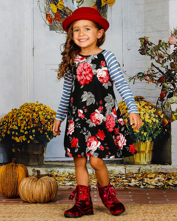 Mia Belle Girls Striped Floral Dress