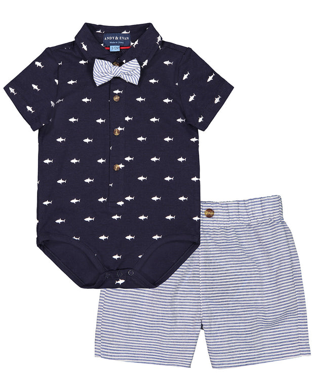 Andy & Evan Shark Polo Shirtzie Set