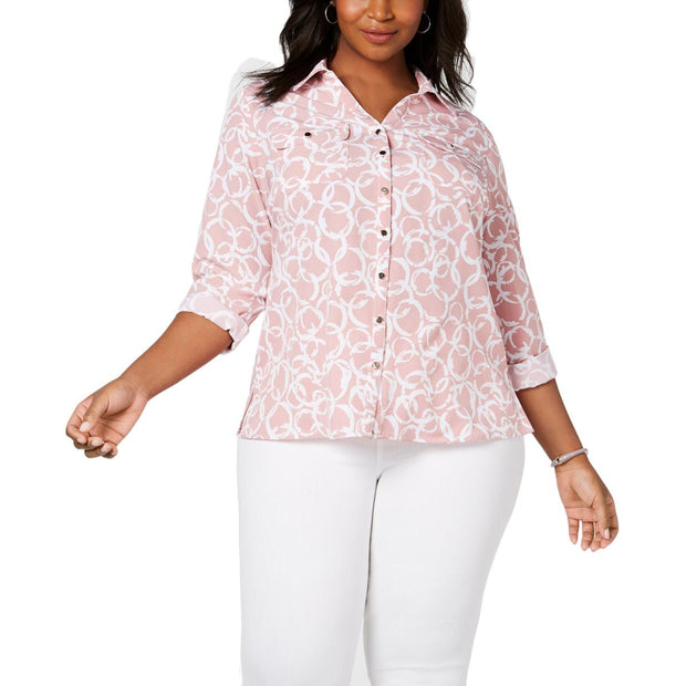 NY Collection Womens Plus Pattern Collared Button-Down Top