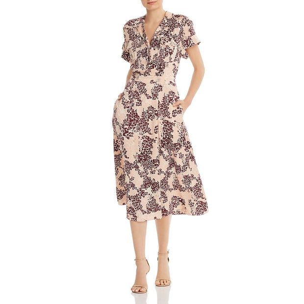 Orlenna Womens Silk Printed Shirtdress