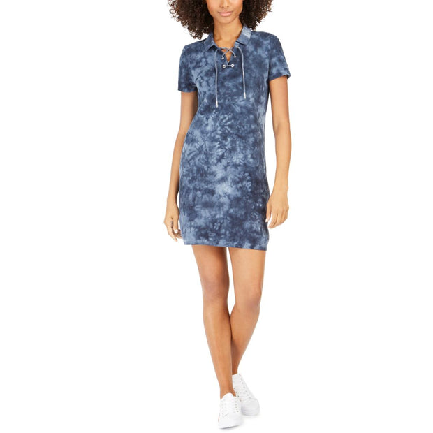 Womens Tie-Dye Lace-Up Casual Dress
