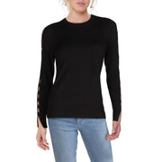 MICHAEL Michael Kors Womens Cut-Out Sleeves Crewneck Sweater